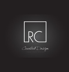 Rc square frame letter logo design with black and vector