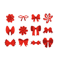 red cartoon bow birthday present decoration vector image