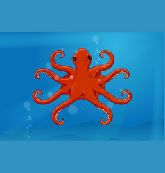Red octopus in blue water hand drawn sketch vector