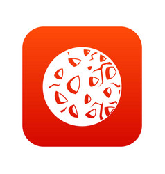 Rocky planet icon digital red vector