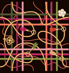 seamless pattern with beltschains pendant and vector image