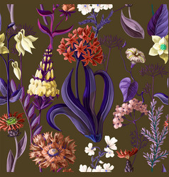 seamless pattern with wild flowers vector image