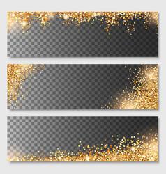 Set gold glitter border template on transparent vector