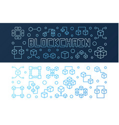 set of blockchain crypto bright outline vector image