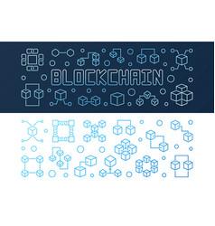 Set of blockchain crypto bright outline vector