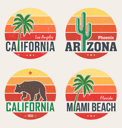 Set of california arizona miami t-shirt prints vector
