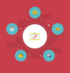 set of commerce icons flat style symbols with pay vector image
