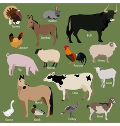 Set of farm animals icons Flat style design vector