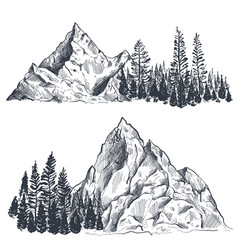 Set of hand drawn graphic mountain ranges vector
