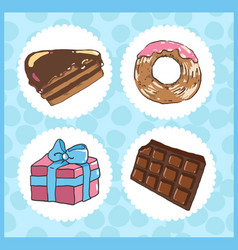 Set of icons of sweets with chocolate cake donut vector