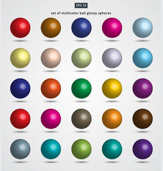 Set of multicolor ball glossy spheres vector
