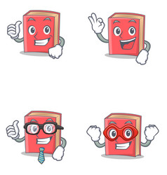 Set red book character with proud okay vector