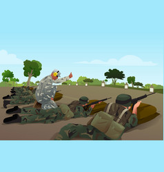 Soldiers in military training vector
