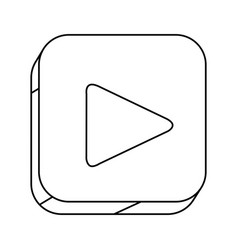 Square silhouette button with contour play button vector