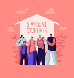 Stay at home self isolation concept male and vector