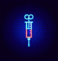 Syringe neon sign vector