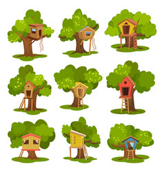 Tree houses set wooden huts on green trees for vector