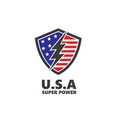Usa flag shield defense design vector