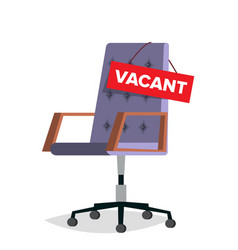 Vacancy office chair job vacancy sign vector