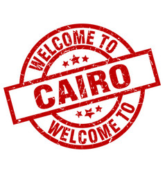 welcome to cairo red stamp vector image