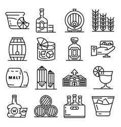 whisky icon set outline style vector image
