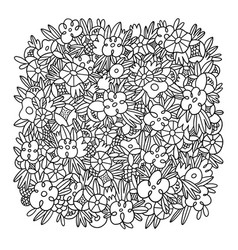 wild flowers and grass black and white outlined vector image