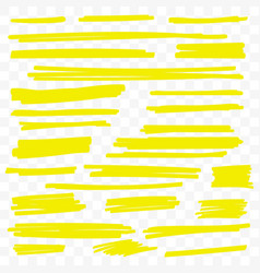 Yellow highlight marker brush paint lines vector