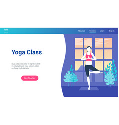 yoga class lp template vector image