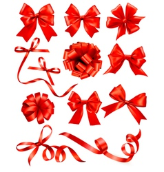 Big set of red gift bows with ribbons Stock vector image vector image