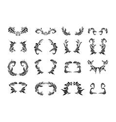 Black floral ornament set Ornate art frames vector image