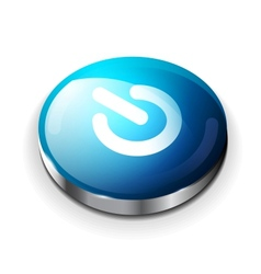 blue glossy power button icon vector image vector image