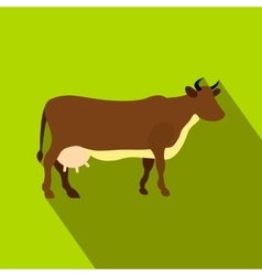 Brown cow flat icon vector image