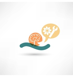 Color brain and tools vector image vector image