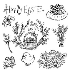 doodle spring is willow easter eggs vector image vector image