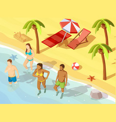 friends ocean beach vacation isometric poster vector image