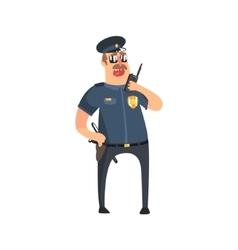 Policeman in american cop uniform with truncheon vector
