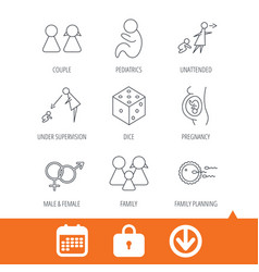 Pregnancy pediatrics and family planning icons vector