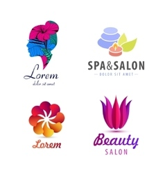 set of spa logos flower woman silhouette vector image