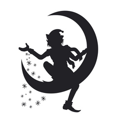 Silhouette of Christmas Elf scattering snowflakes vector image