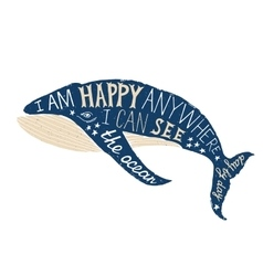 Typographical poster with whale vector