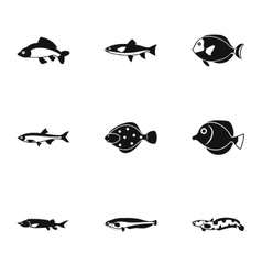 Fish icons set simple style vector image vector image