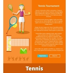 Tennis and tournament web interface page vector image vector image