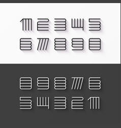 Thin line style linear modern font numbers with vector