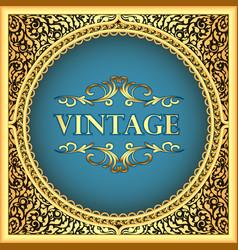 vintage background frame with a gold floral vector image