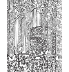adult coloring book page design with forest trees vector image vector image