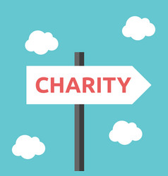 charity direction road sign vector image