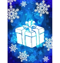 Christmas greeting card with snowflakes and gift vector image vector image