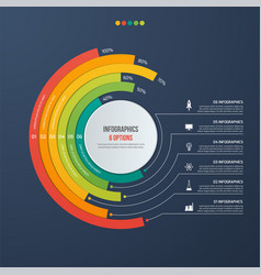 circle informative infographic design 6 options vector image vector image