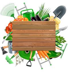Wooden Board with Garden Accessories vector image vector image