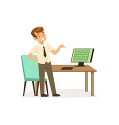 boy in computer class pupil of elementary school vector image